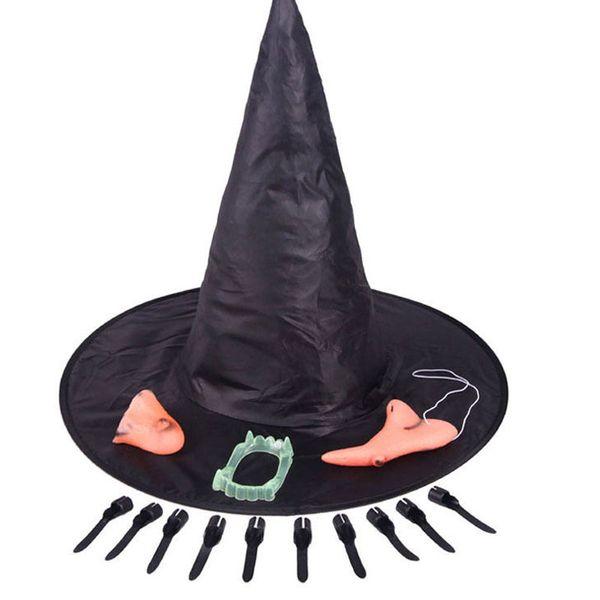 Fiesta de miedo de Halloween Apoyos Sombrero de bruja Barbilla Nariz Falso dientes Buscador de cunas Accesorios de Halloween Cosplay Casa encantada Decoraciones