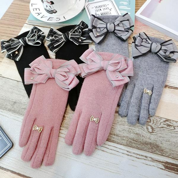 Winter Women Fashion Gloves Cashmere Touch Screen Ladies Gloves Big Bowknot Grey Black Wrist Double Warm Mittens Soft
