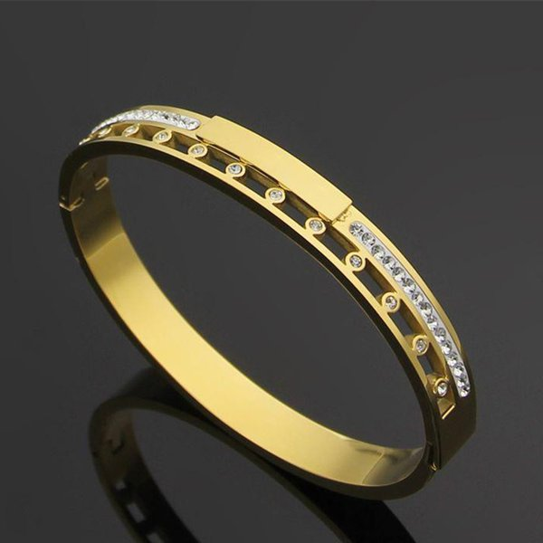 Fashion Brand Diamonds Bangles Women and Men Hollow Bracelet 316L Titanium Steel 18K Gold Bangle Rose Gold Silver Bracelets Width 0.8cm