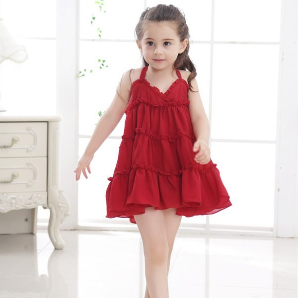 Solid Girls Princess Dresses for Party 2019 New Summer Cute Sleeveless Kids Clothes Toddler Children Dress Girls Costume