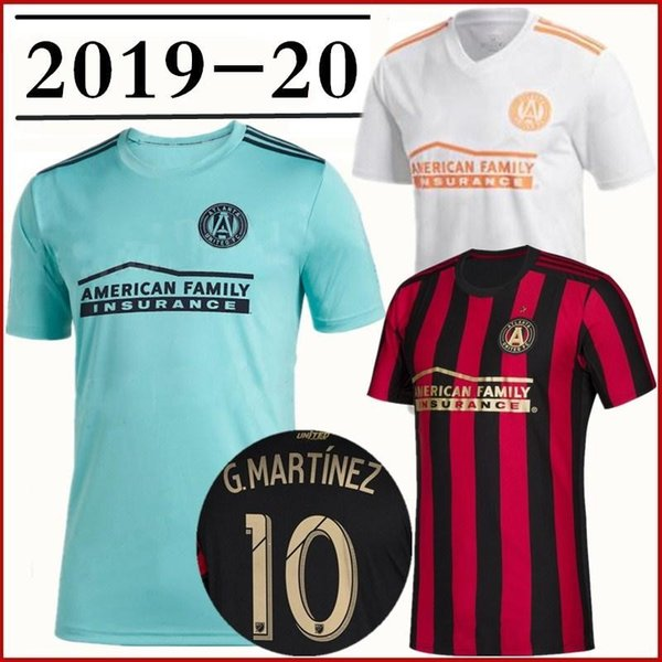 2019 2020 Atlanta United FC Camisas De Futebol 10 ALMIRON 16 MCCANN 15 VILLALBA 7 MARTINEZ GARZA Personalizado Casa Camisa de Futebol Preto Branco Vermelho