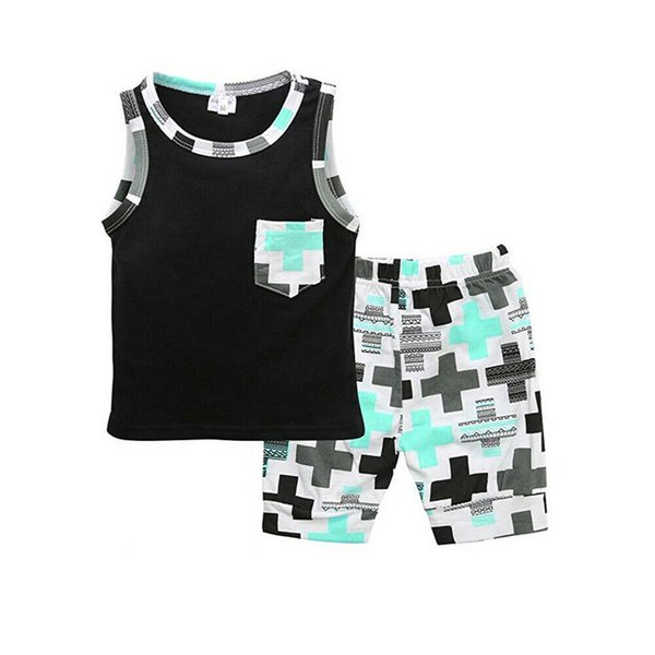 Hot Baby Boys Outfit Fashion Summer Sleeveless Top Boys Vest Shorts Infant Toddler Kids Clothes 2Pcs Children's Clothing Set