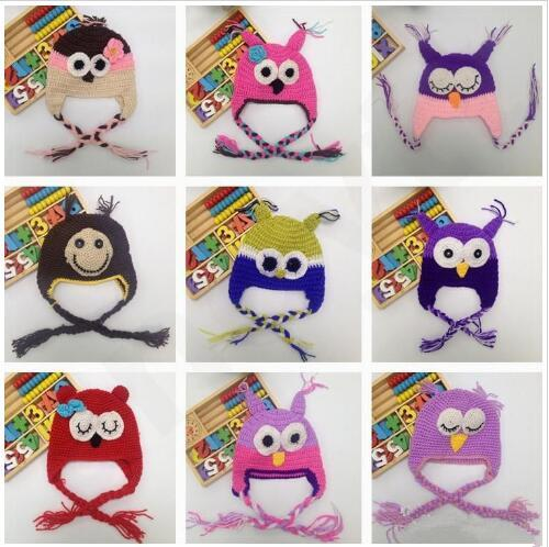 Baby Hats Ins Handmade Children Owl Beanie Cap Baby Cartoon Earflaps Cap Parrot Hats Animal Cartoon Skull Caps Hat photography props LT788