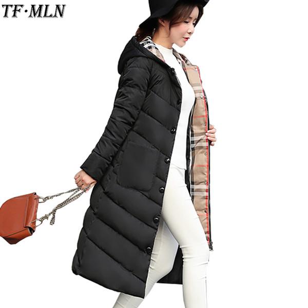 Kapşonlu Kadın Kadın Kış Coat Kalın Aşağı Pamuk Cepler Ceket Bayan Dış Giyim Parkas Artı boyutu XXXL ile 2019 Yeni Uzun Parkas