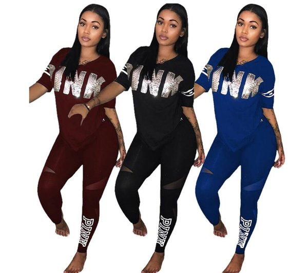 Fashion Women Pink Tracksuits Casual Short Sleeve Tops Two-piece Jogger Set Ladies Spring Tracksuit Sweat Suits 5 Colors Plus Size S-3XL