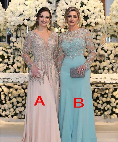 Luxe Perlé Plus La Taille Mère De La Mariée Robes De Mariée Avec Manches Longues 2019 Blush Rose Menthe Mère Formelle Occasion Robes De Bal