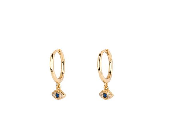 Evil eye hoop earrings eye charm earrings gold hoop Minimalist Gold Huggies
