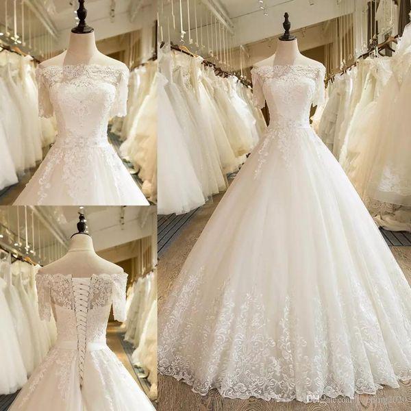 2019 Bateau moderno de manga curta A linha de vestidos de casamento Lace Applique Beading Design vestidos de noiva com Lace-up de volta Plus Size vestidos de casamento