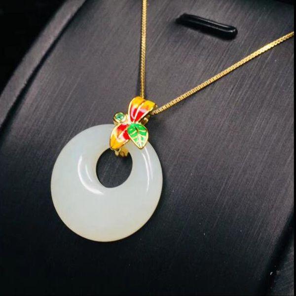 925 prata jades calcedônia branco círculo colorido pingente de pedra de alta qualidade para encantos acessórios femininos dourado-cor