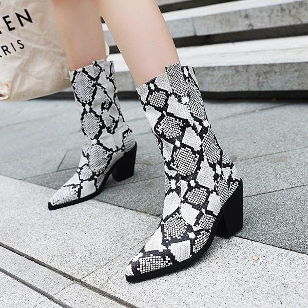 Toptan Ayakkabı Kadın Çizmeler Sivri Burun Yılan Ayakkabı Yüksek Topuk Platformu Kadın Çizmeler Sonbahar Kış Çizmeler Bayanlar Orta Buzağı Patik