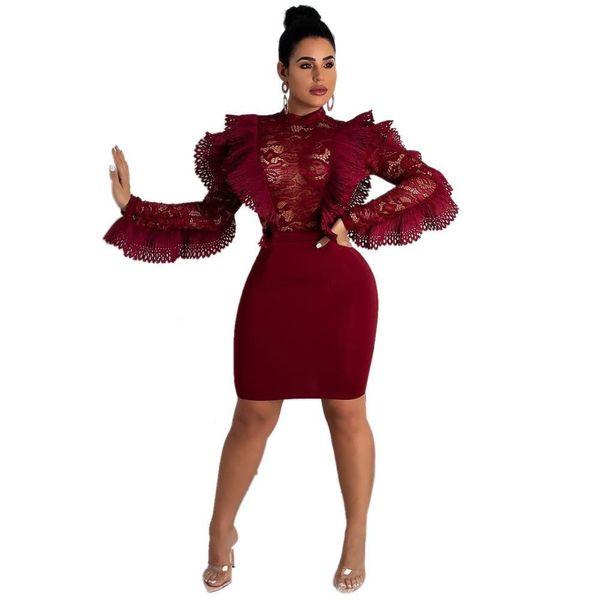 Lace Patchwork Ruffles Dress Women Sexy Perspective Long Sleeve O Neck Knee-length Bodycon Women Dress Night Club Vestidos