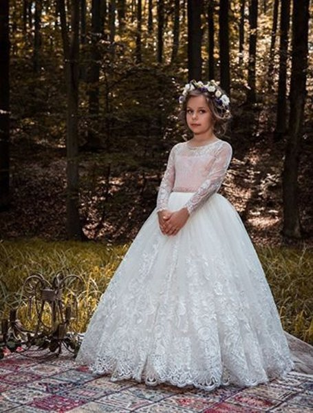 White/Ivory Lace Applique Kids TUTU Flower Girl Dresses Pink Sash Long Party Princess Gown Bridesmaid Wedding Formal Occasion Dress 63