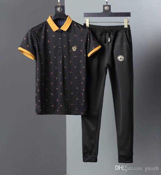 Summer Two Piece Set Men Short Sleeve T Shirt Cropped Top Shorts Men's Tracksuits Design Fashion T-shirt Tracksuit Set New