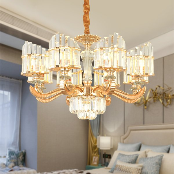 Modern Gold Crystal Pendant Lamp American S Gold Crystal Pendant Lights  Fixture Hanging Lamps Hotel Hall Home Indoor Lighting 6/8/15 Lamp Pendant  ...