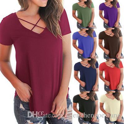 2019 Elastico Modale T Shirt Estate Donna Sexy Modal OL Vestiti T-Shirt Anteriore Croce Cintura Canotta Casual Vest 10 Colori