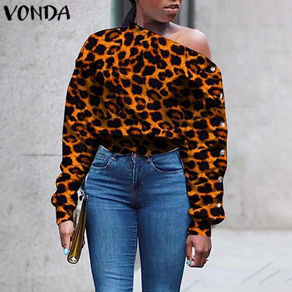vonda women leopard print blouses plus size tunic  skew collar lantern sleeve shirts casual loose buttons down blusas