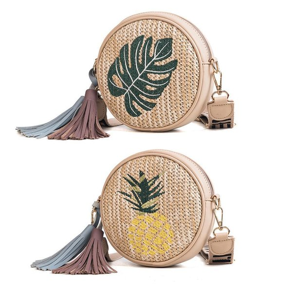 Embroidered Woven Straw Braided Bags Fashion Round Casual Lady Shoulder Messenger Storage Handbag Crossbody Bag For Women Girl Y19061204