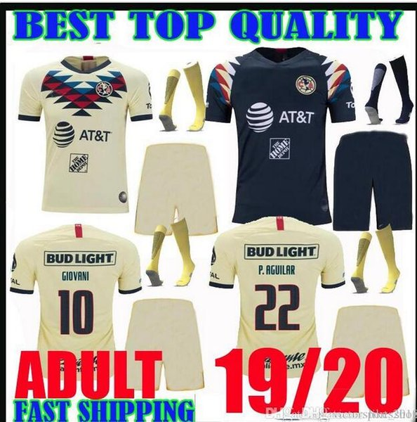 ADULTE KIT 2019 2020 Club America Soccer Jerseys # 10 GIOVANI MEXIQUE maison loin troisième 19 20 LIGA MX Mateus D.LAINEZ MEN ENSEMBLES maillots de football