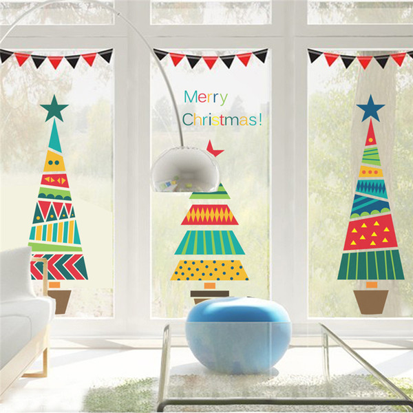 Cartoon Christmas Tree Gifts Wall Stickers For Kids Rooms Store Window Home Decor New Year Mural Art PVC Wall Decals D19011702