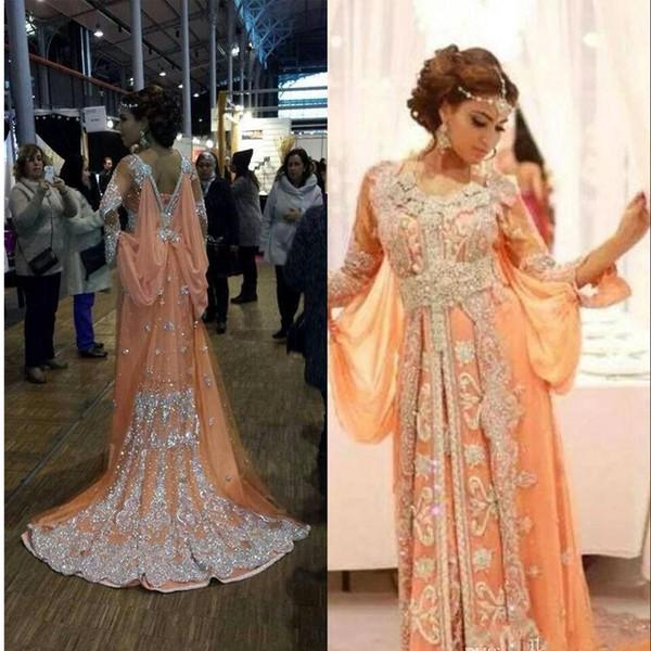 Elegante Kaftan Abaya Arabisch Abendkleider Perlen Pailletten Applikationen Chiffon Lange Abendkleider Dubai Muslim Prom Kleider