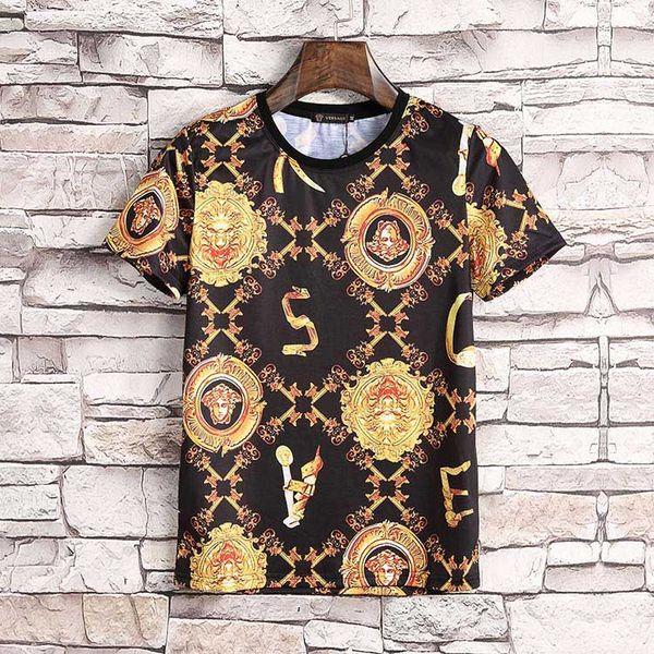 Summer Men Fashion 3D Print Casual Cotton Short Sleeve High Quality Tees Medusa Mens T-shirt Slim Sport Tops #3830