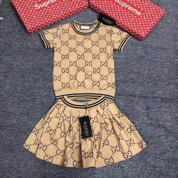 designer luxury Girl Suit Summer Korean Children Dress Short Sleeve Twinset Child Clothes Kids Clothing Set Children's Dresses 092008