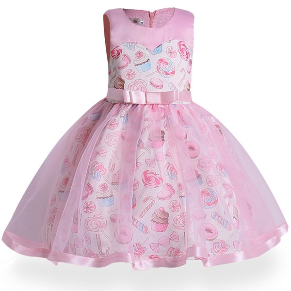 New Baby Girl's Dress Ice Cream Prints Of The Big Children's Dress Kids Party Wear Dress Girl Formal Vestido Christmas Clothes J190521
