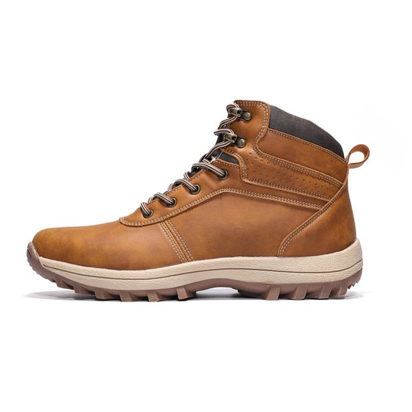 Winter Leather Men Boots Work Casual Boots Men Winter Shoes Male Rubber Snow Leather Ankle Boots For Men 20D50