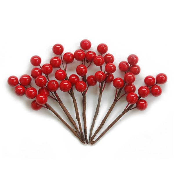 20 stücke stamm party hochzeit künstliche rote beere lebensechte handgemachte verzierung diy dekorative blume schaum handwerk obst weihnachten
