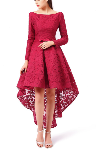 High Low Lace Prom Dess Girl Bridesmaid Dress Burgundy