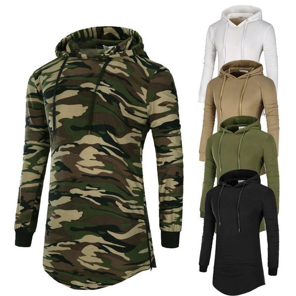 Curved Hem Hip Hop T-shirt Men Autumn Casual T Shirt Plain Longline Long Sleeve Mens Tee Shirts Male Clothes Mens Hoodie Tops