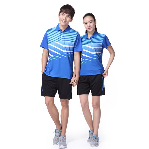 Adsmoney Erkek / kadın tenis spor takım elbise, erkek tenis masculino gömlek + şort, masa tenisi takım elbise, Yaka aşağı Yaka polo t-shirt