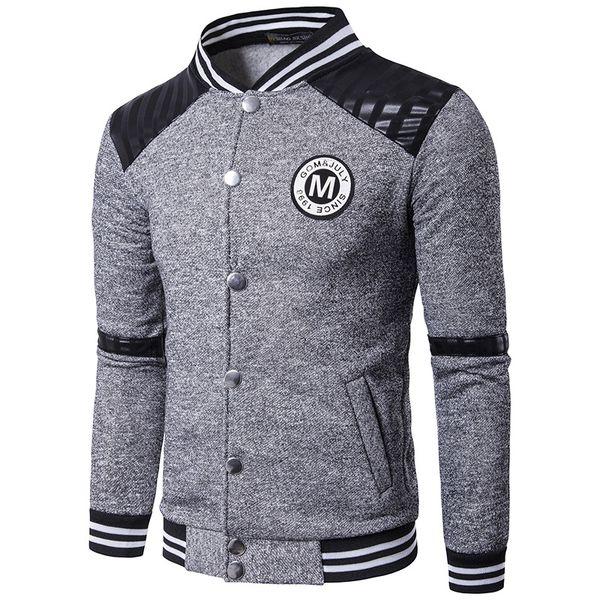 Jaqueta Primavera Sportswear Fit Casaco Com Capuz Fino Blazer Homens 2017 Primavera New Style Camisa de Beisebol dos homens Moda Stand Collar pi pin