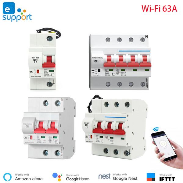 63А eWeLink WiFi Смарт Автоматический выключатель Автоматический выключатель перегрузки Защита от короткого замыкания, работать с Amazon Alexa Google дома