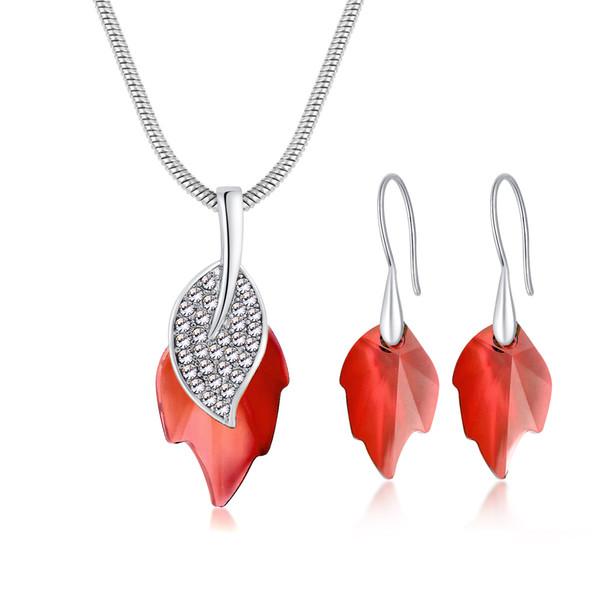 High Files Crystal Zirconium Stone Leaf Pendant Earrings Suit Korean Edition Women's Style Ear Nail Wear Ornaments