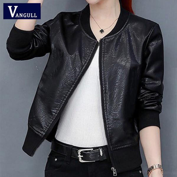 Acquista Vangull 2019 New Spring Giacca In Pelle Da Donna Colore Nero Colletto Alla Coreana Cerniere Giacche Corte In Ecopelle Femminile Di Alta