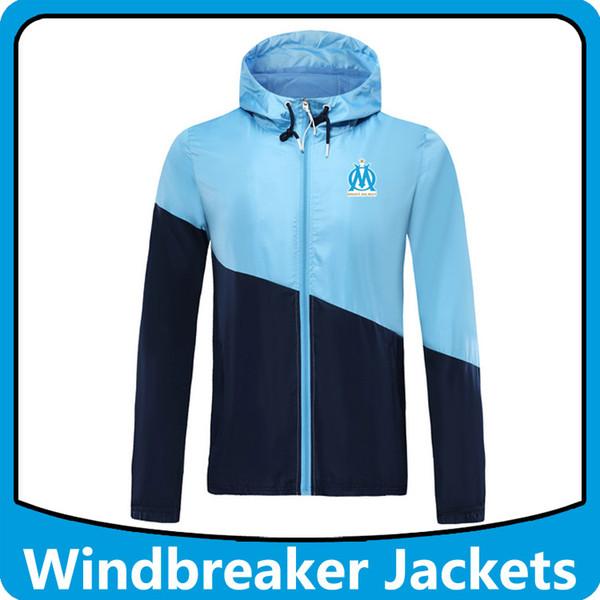 Hoodies spor Kapşonlu ceket rüzgarlık Olimpik Marsilya futbol, Marsilya kapşonlu WINDBREAKER kış ceket erkek ceketleri Running