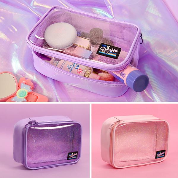 Transparente PVC Cosméticos Saco Compõem Casos de Escova Saco Mulheres Embreagem Maquiagem Bolsa de Viagem de Higiene Pessoal Grande Armazenamento