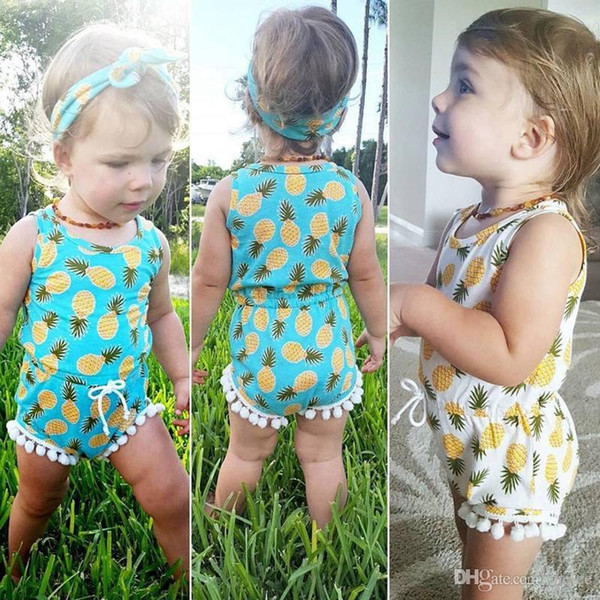 ins Summer Newborn Toddler Baby Girls Romper with Pineapple Tassel Infant Baby Jumpusit Wasit One-Pieces Sunsuit Kids Clothes