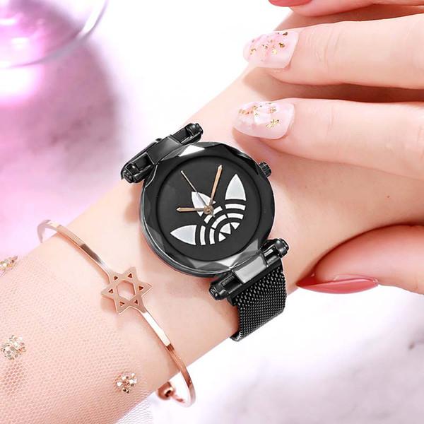 El cielo estrellado de oro rosa de las mujeres de lujo de los relojes de manera señoras del diamante imán impermeable reloj de pulsera para el reloj femenino regalo 2019