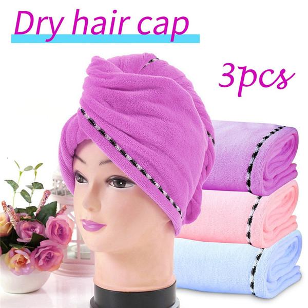 3pcs Soft Dry Hair Shower Cap For Fiber Material 3 Piece Set Of Wrapped Towel #4e09 SH190919