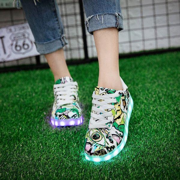 Luminous Sneakers Krasovki Children Led Luminous Girls Shoes For Kids Glowing Usb Charging Light Up Womens Mens Fashion Sneakers Y190525
