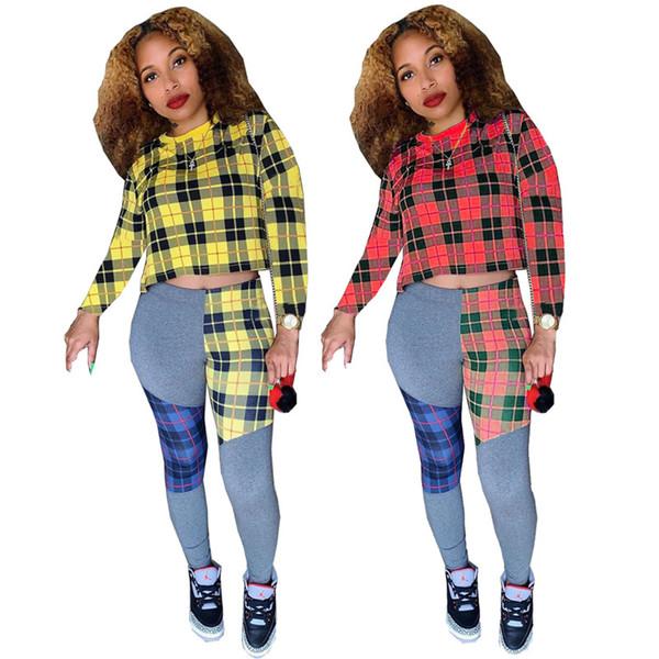 Las mujeres de la tela escocesa de impresión sudadera con paneles de dos piezas de la manga larga de los pantalones camiseta bodycon diseñador streetwear otoño invierno ropa de moda 1522