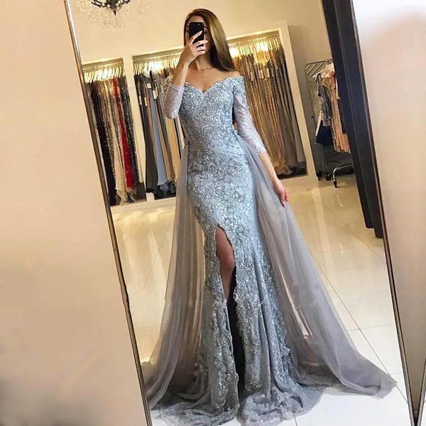 Elegant Off The Shoulder Lace Abendkleider mit langen Ärmeln High Split bodenlangen Abendkleider mit Tüll über Röcke BA6240