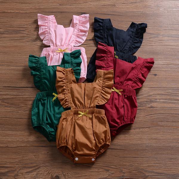 Enfants Designer Vêtements Filles 2019 D'été Belle Nouveau-Né Infantile Bébés Filles Barboteuse À Volants Manche Solide Dos Nu Jumpsuits Tenues 5 Couleurs