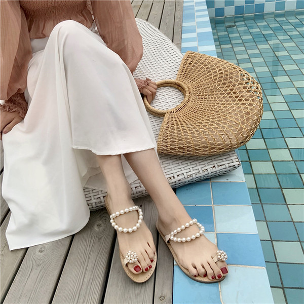 Gorgeous2019 Shoe Fairy Recommend Pearl Rhinestone Pinch Flat Bottom Sandals Woman Other Clothes Set Toe One Word Bring Sandy Beach On