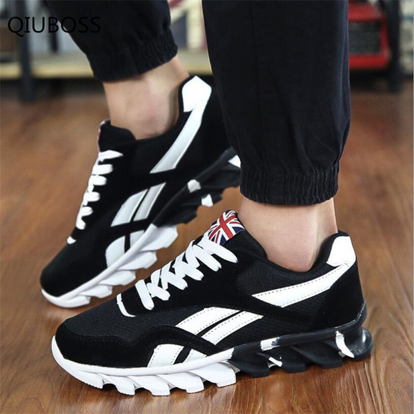 QIUBOSS Men's Casual Shoes Fashion Mesh Suede Lace-up Shoes Men Red Blue Spring Comfortable and breathable men's Q199