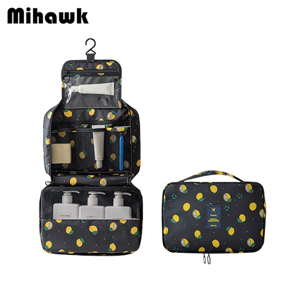 Mihawk Lemon Pattern Hanging Toiletry Bag Men Travel Vanity Cases Lipstick Gadget Wash Sorting Tote Bathroom Make Up Bags