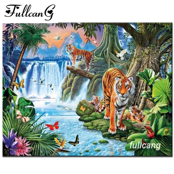 FULLCANG Diamond Painting Cross Stitch Tiger Waterfall Scenery 5d Diamond Embroidery Full Square Diamond Mosaic Pictures F948