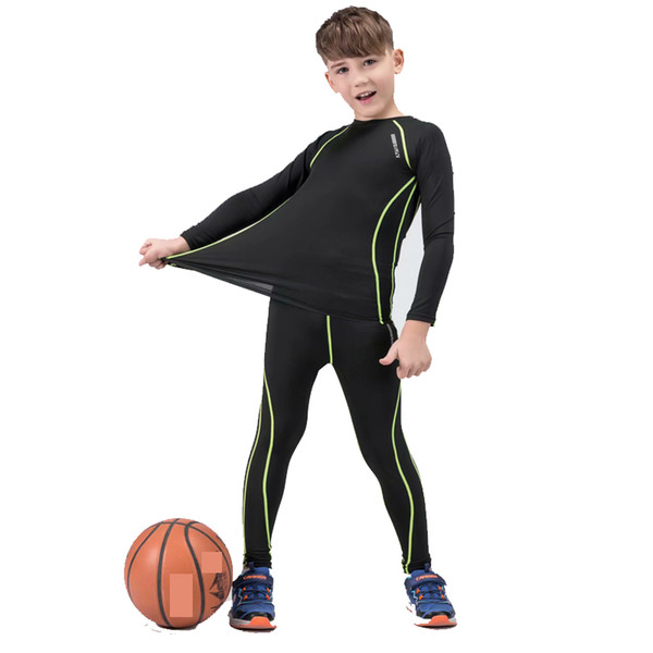 2020 new children's running suit winter sports thermal underwear base layer compression tights gym quick-drying boys suit thumbnail